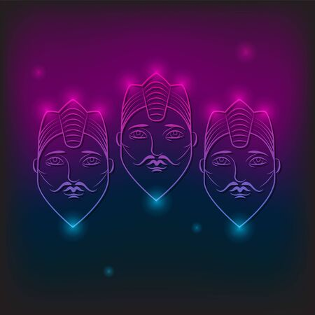 three faces with beard in crown with neon light and glare on isolated background.  イラスト・ベクター素材