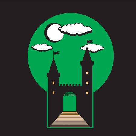 Medieval castle with towers and gates on black isolated background. Icon illustration.