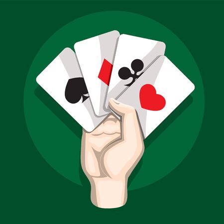 Hand with playing cards on green isolated background. Vector image. eps 10
