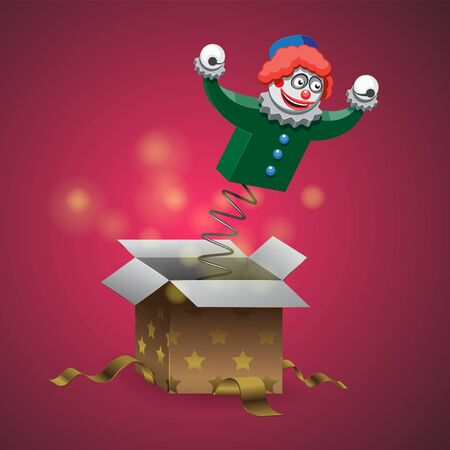 Gift box with spring and clown on isolated background. Vector image. eps 10  イラスト・ベクター素材