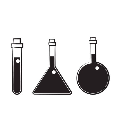 Chemistry beakers with Erlenmeyer flask and test tube holding chemicals flat vector icon for science apps and websites  イラスト・ベクター素材