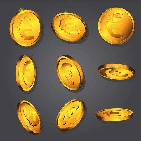 Coin with Euro gold sign on black isolated background. Vector image. Design element.  イラスト・ベクター素材