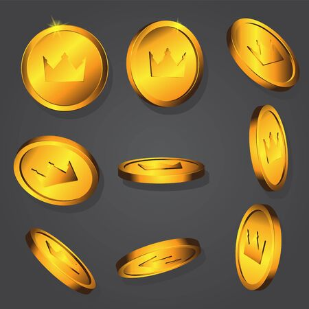 Gold coin with image of a crown on a dark background. Vector image. eps 10