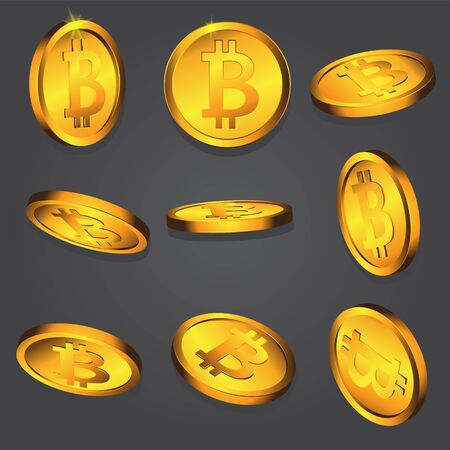 Gold coin with bitcoin sign on dark isolated background. Vector image. Design element. eps 10