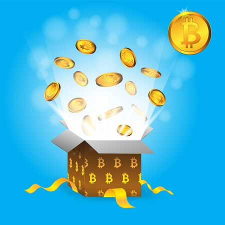 Gift box color coin Zank bitcoin on blue isolated background.