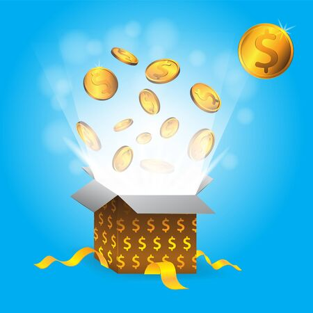 Gift box with gold coins with dollar sign on isolated blue background