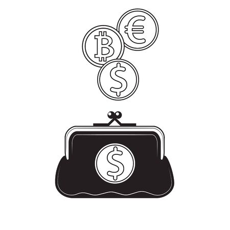 Black and white wallet icon with coins and dollar bitcoin Euro icons.