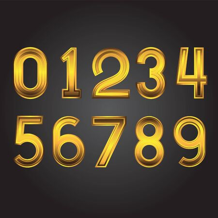 Gold numbers from zero to nine on a black isolated background. Vector image.