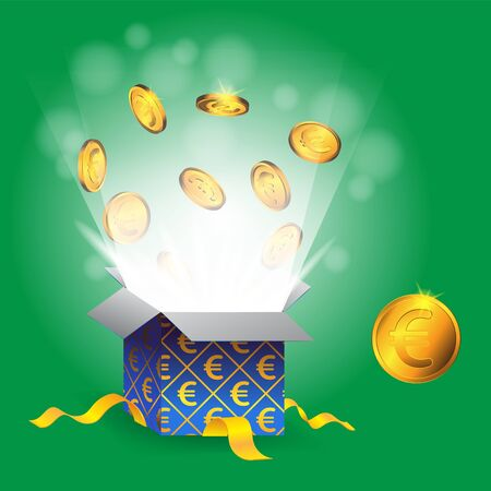 Gift box with gold coins and Euro sign on isolated green background.