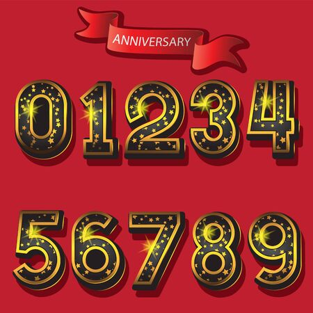 A set of numbers from 0 to 9 with stars and a ribbon anniversary on a red isolated background.