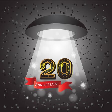 Celebrating the Golden jubilee of 20 years with ribbon number of star light UFO on isolated black background.