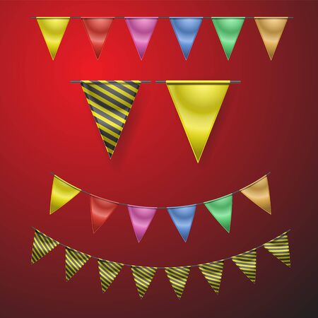 Realistic holiday flags on isolated background. Decoration objects for design. Vector image. eps 10