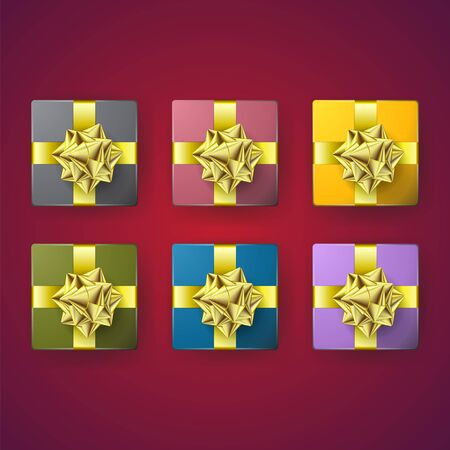 Set of multi-colored gift boxes with a gold bow on the insulated layer. Vector image. eps 10 Stock Illustratie