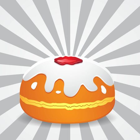 The donut is a traditional religious holiday of Hanukkah on an isolated background.