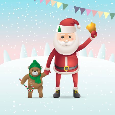 Santa Claus with a bell and a Teddy bear isolated on snowy background. Vector image eps 10 Illustration