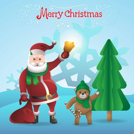 Santa Claus with a bell and a Teddy bear isolated on background. Vector image eps 10