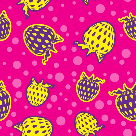 Seamless berry strawberry background in bright colors. Vector image. Silhouette. eps 10