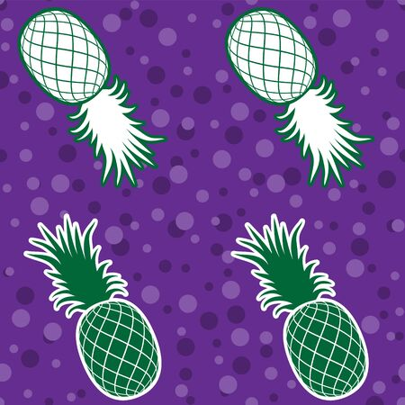 Seamless background tropical fruit pineapple silhouette on purple background. Vector image. eps 10