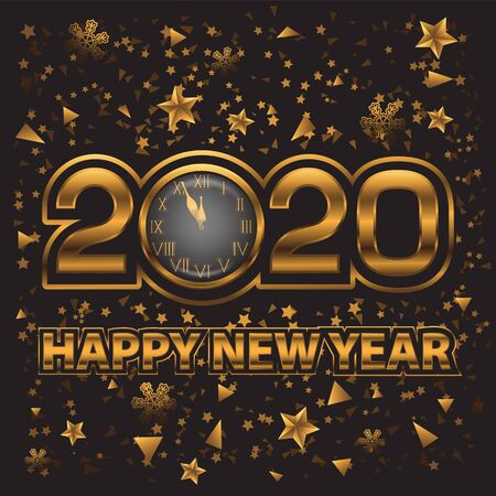 Happy new year 2020 abstract background with gold clock on black isolated background. Vector image eps 10