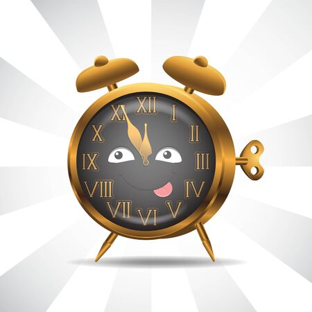 Character alarm clock gold on isolated background. Vector image. Cartoon. EPS 10