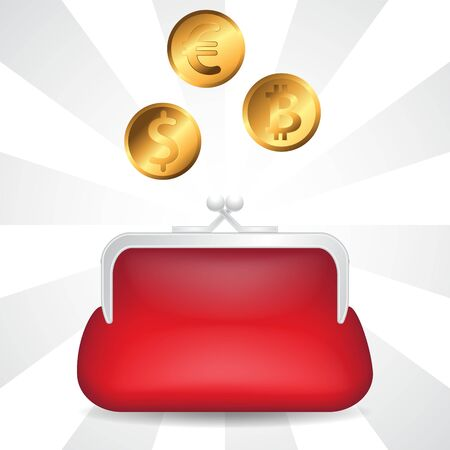Red wallet and gold coins Euro dollar bitcoin on isolated background.