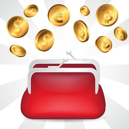 Red open wallet and gold coins on isolated background.