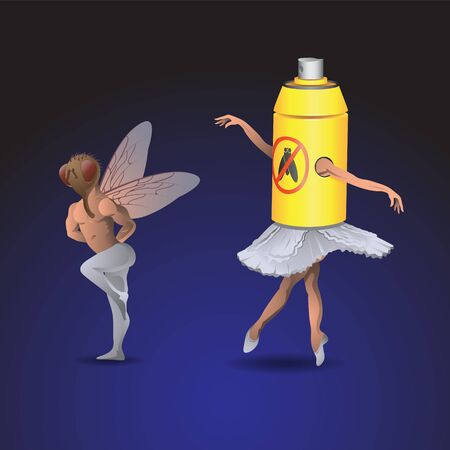 A woman and a man dance ballet in costumes of flies and spray on an isolated background. Vector image eps 10