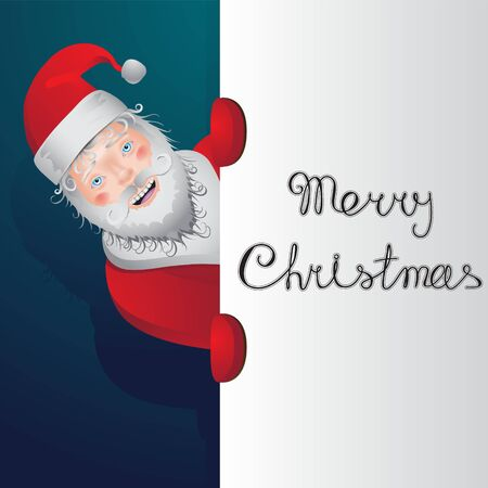 Character Santa Claus inscription Merry Christmas on isolated background. Vector image eps 10 Vectores