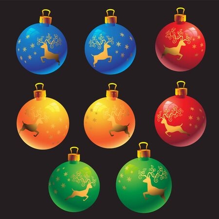 Colorful Christmas balls with the image of a deer on a black isolated background. Vector image esp 10 Archivio Fotografico - 135499917