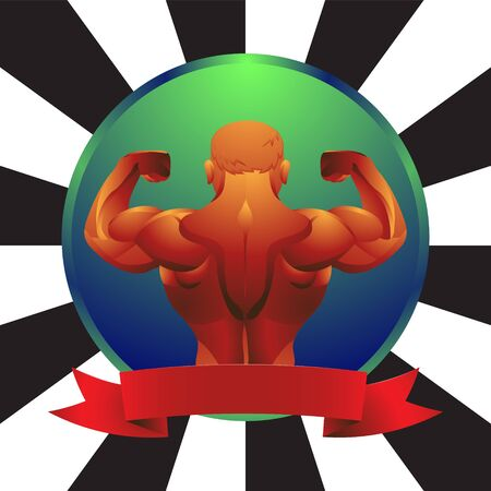 Male bodybuilder posing with his back showing muscles on an isolated background. Vector image