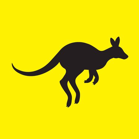 Silhouette of a kangaroo animal on a yellow isolated background. Vector image