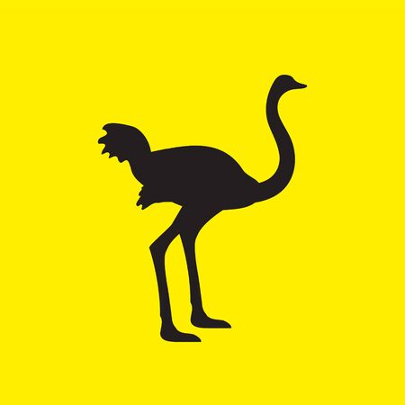 The silhouette of an ostrich bird stands on a yellow isolated background. Çizim
