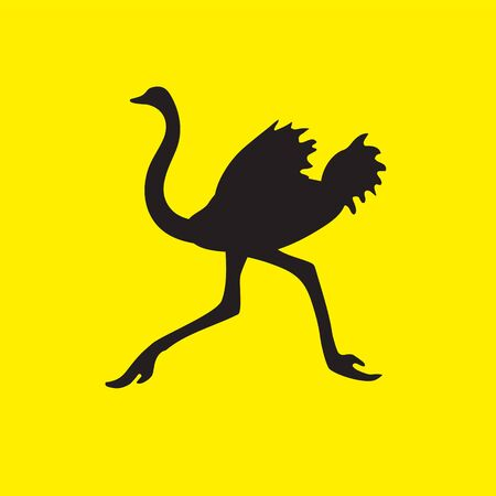 The silhouette of an ostrich bird flees on a yellow isolated background.