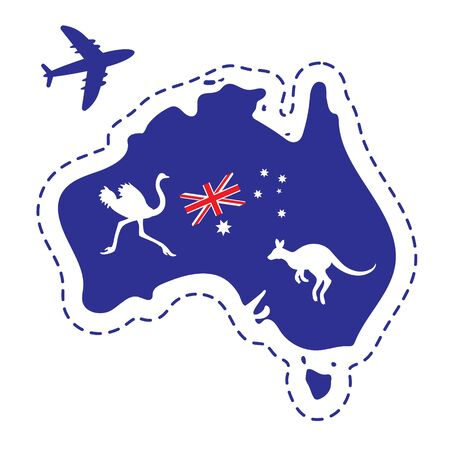 Map of Australia silhouette flag ostrich kangaroo plane on white isolated background. 스톡 콘텐츠 - 136869357