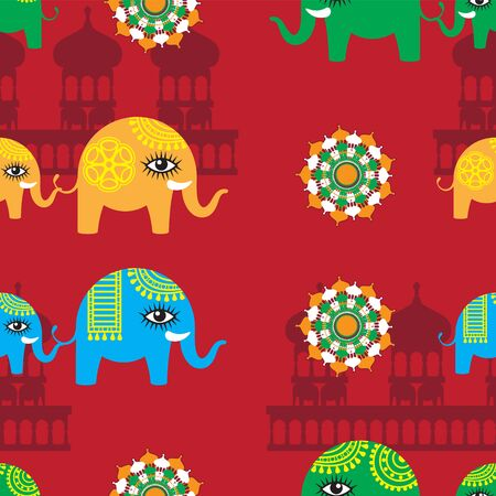 Abstract seamless pattern of elephant and cub temple silhouette on red background. Vector image.