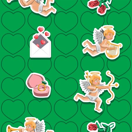 Seamless background Cupid angels ring heart letter rose on green background. Vector image. Cartoon.
