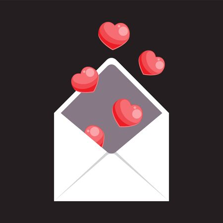 An open envelope with hearts flying out of it on a black isolated background. Vector image. Cartoon. eps 10