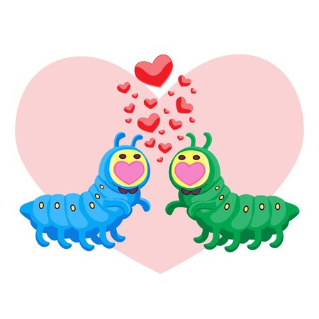 Valentine s day characters insect caterpillars in love hearts on a white isolated background. Cartoon. Vector image eps 10