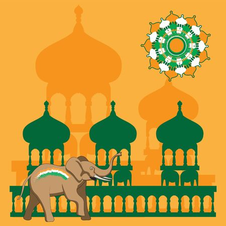 Orange abstract isolated background with an elephant, the temples of the sun. Vector image.