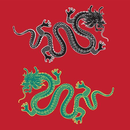 Illustration of Traditional chinese Dragon on a red isolated background ,vector illustration