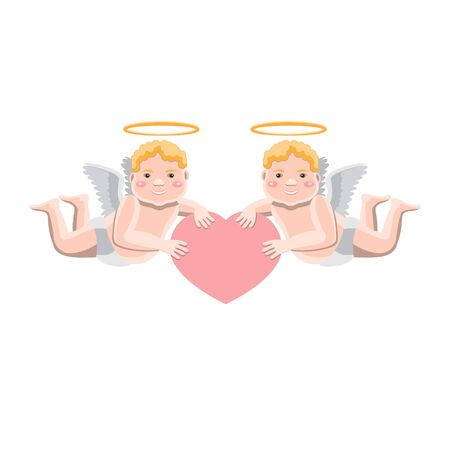 Valentine s day illustration two little Cupid angels holding a heart in their hands on a white isolated background. Vector image. Cartoon eps 10