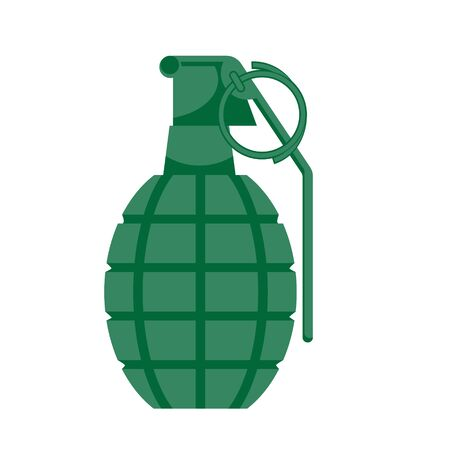 A hand grenade is green on a white isolated background. Vector image. eps 10