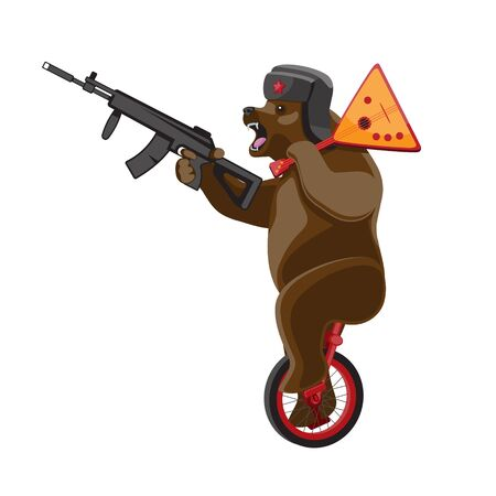 A bear rides a unicycle with a balalaika and a machine gun in his hands on a white isolated background. Vector image