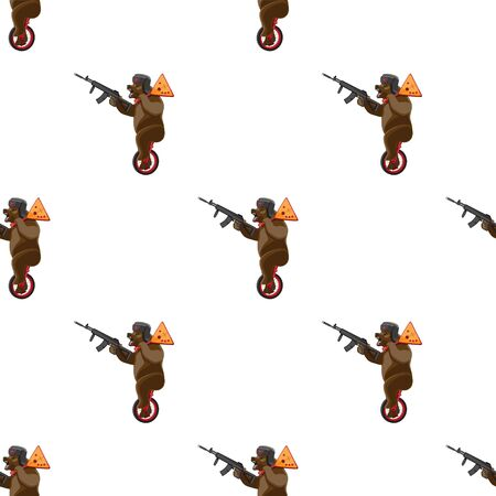 seamless pattern bear rides a unicycle with a balalaika and a machine gun in his hands on a white background. Vector image Ilustración de vector