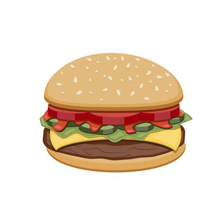 Vector drawing of hamburger with cheese, tomatoes, chop, lettuce, cucumber in Illustration for design fast food menu. Hamburger isolated icons. Ilustración de vector