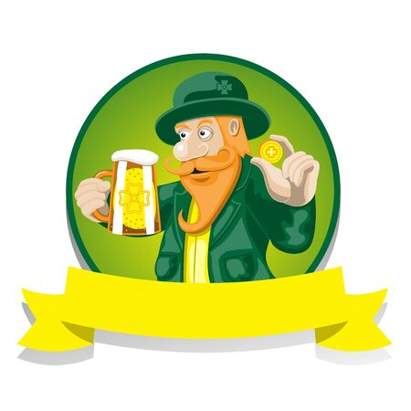 Leprechaun with beer and a coin on an isolated background. Vector image eps 10