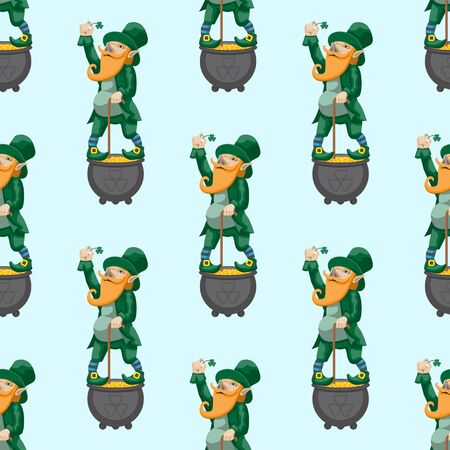 Seamless pattern leprechaun dwarf fairy tale character for St. Patricks day on a light blue background. Vector image Vektorgrafik