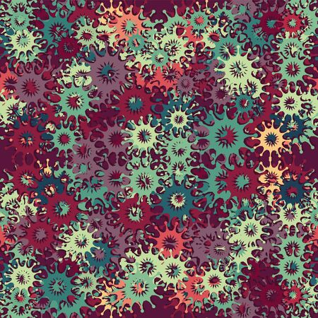 Seamless pattern abstract ornament bacteria viruses on different dark shades. Vector image. eps 10