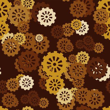 Seamless pattern of mechanical gears on a dark brown background. Vector image eps 10 Ilustración de vector