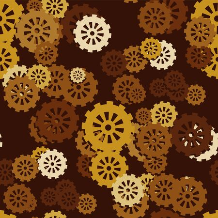 Seamless pattern of mechanical gears on a dark brown background. Vector image eps 10
